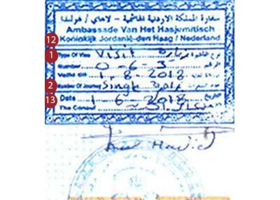 Échantillon Visa de Jordanie